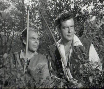 Victor Woolf as Derwent (left) and Richard Greene as Robin Hood
